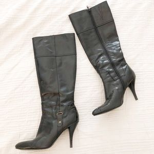 Nine West Point Toe Leather Knee High Boots Size 9